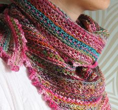 FREE PDF Download ~  Pattern: 'Odds and Ends Kerchief' by Giddy Davies.... Proves that all the leftover bits of lovely yarn should not be tossed out!