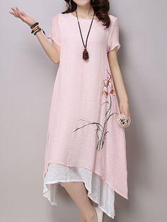 FloryDay / Floral Short Sleeve High Low A-line Dress Stylish Dresses, Casual Dresses, Fashion Dresses, Vintage Midi Dresses, Linen Dresses, Women's Dresses, Dresses Online, Dress Vestidos, Short Sleeve Dresses
