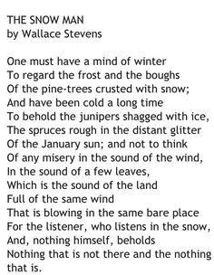 The Snow Man, Wallace Stevens