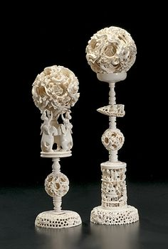 Very Large Chinese Graduated Ivory Puzzle Balls