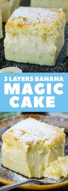 3 layers banana magic cake