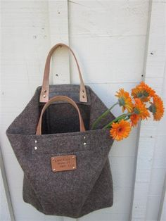 vintage Swiss Army Wool blanket tote