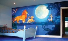 Lion King Nursery Decor - Lion King of Disney is an ideal starting point to turn a child's room into a wonder of the jungle and animal decoration. Kids Room Murals, Murals For Kids, Bedroom Murals, Bedroom Themes, Bedroom Ideas, Bedroom Designs, Room Kids, Wall Murals, Bedroom Decor