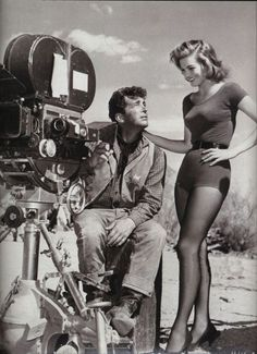 """Dean Martin and Angie Dickinson on the set of """"Rio Bravo"""",1958-9"""