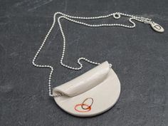 Ovals - Imprinted Porcelain & Sterling Silver Necklace by FebbieDay of Doe&Day (FDN147)