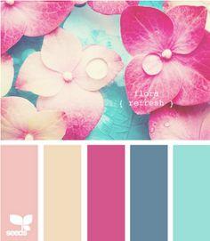 flora refresh via design-seeds Colour Pallette, Color Palate, Colour Schemes, Color Combos, Design Seeds, Colour Board, Color Stories, Color Swatches, Color Theory