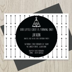 Teepee and Arrows birthday invitation, Monochrome 1st Birthday party Invitation/ DIY Printable /First Birthday black and white by LouandGrace on Etsy