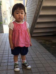 こんにちは🌞 昨日のあかねくんコーデです✨ 靴下&靴はあかねくんチョイスლ(╹◡╹ლ) ママは赤か