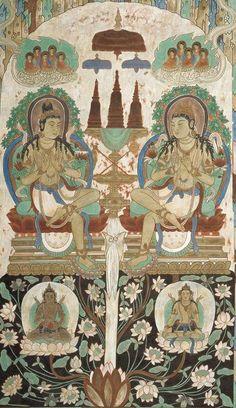 Un antico dipinto cinese, rinvenuto nelle Grotte di Yulin nei pressi di Dunhuang, che rappresenta il dialogo tra il Buddha Śākyamuni e il Buddha Prabhūtaratna riportato nel Sutra del Loto.