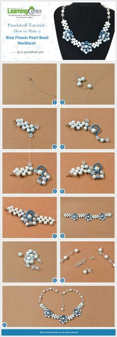 Tutorial on How to Make a Blue Flower Pearl Bead Necklace from LC.Pandahall.com