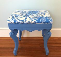 A piano seat gets a colorful makeover with Greek Blue Chalk Paint® decorative paint by Annie Sloan. See the Before & After! | By stockist Sea Rose Cottage of Bristol, RI