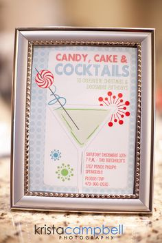 Christmas cocktails, candy and cake invitations #christmas #invitations
