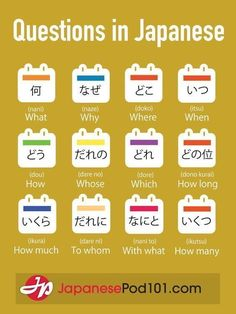 How to ask questions in Japanese. Totally FREE Japanese lessons online at JapanesePod101 - free podcasts, videos, printables, pdfs and more! We recommend Japanese Pod 101 to learn Japanese online. Learn real Japanese, the way it's spoken today. Learn Japanese online as a beginner all the way up to advanced. They have JLPT training too. Sign up for your free lifetime account and see how much you can learn in a week! #japanese #learnjapanese #nihongo #studyjapanese #languages #affiliate #ad