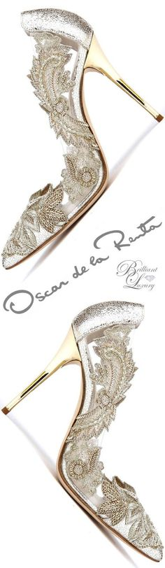 Brilliant Luxury ♦ Oscar de la Renta 'Alyssa' Smoke Metallic Pumps