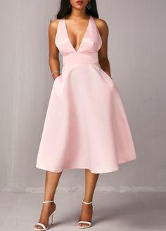 High Waist Criss Cross Back Pink Pocket Dress | Rotita.com - USD $31.88 Party Dress Sale, Club Party Dresses, Beach Wedding Outfit Guest, Wedding Wear, Dream Dress, Criss Cross, Sexy Dresses, Dresses Online, High Waist