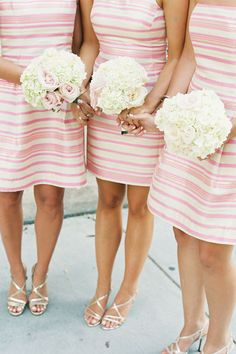 Preppy Charleston Wedding by Virgil Bunao - Southern Weddings Magazine Bridesmaids And Groomsmen, Wedding Bridesmaids, Wedding Attire, Wedding Dresses, Bridesmaid Bouquets, Bridesmaid Shoes, Striped Bridesmaid Dresses, Pink Dresses, Striped Wedding