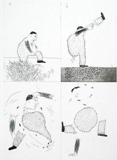david hockney - grimms fairy tales - original etching and aquatint - he tore himself in two - 1969