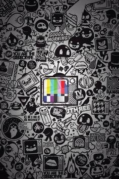 Tv kills everything wallpaper by milton & king trill pintere Graffiti Wallpaper, Graffiti Art, Cool Wallpaper, Mobile Wallpaper, Wallpaper Backgrounds, Iphone Wallpaper, Sticker Bomb, Doodle Art, Cute Wallpapers