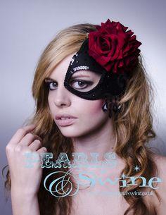 Half Mask Fascinator Black Satin Crystals Red Roses Spanish Headdress  Elegant Prom Bridal Headwear by Pearls   Swine. £75.00 b2858c9788a