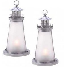 20 FROSTED WHITE LIGHTHOUSE THEME CANDLE LANTERN EVENT WEDDING CENTERPIECES