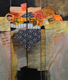 "CAROL NELSON FINE ART BLOG: Metals and Mixed Media Contemporary Abstract, ""Billboard #5"" © Carol Nelson Fine Art"