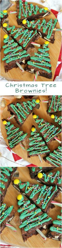 Christmas Tree Brownies!! Chocolatey & Delicious Triple Chocolate Brownies in the shape of Christmas Trees – perfect for the festive season!