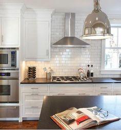 Range hood and kitchen tile, so pretty Kitchen Vent Hood, Kitchen Stove, Ikea Kitchen, Kitchen Redo, Kitchen Range Hoods, Stainless Kitchen, Kitchen Black, Kitchen Floor, Design Kitchen