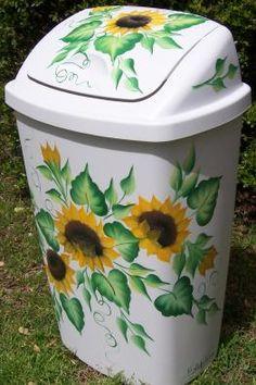 Sunflower Decor For Kitchen In Painted Kitchen Wastebaskets Next In Painted Kitchen