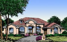 Spectacular Windows - 83328CL | 1st Floor Master Suite, Butler Walk-in Pantry, CAD Available, Den-Office-Library-Study, European, Florida, MBR Sitting Area, Mediterranean, PDF, Split Bedrooms | Architectural Designs