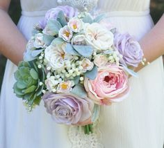 Vintage inspired, silk wedding bouquet made with succulents, cabbage roses, babies breath, lambs ear and roses by Holly's Wedding Flowers. Holly's Flower Shoppe on Etsy.