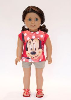 American Girl doll upcycled Minnie Mouse t by EverydayDollwear, $9.00
