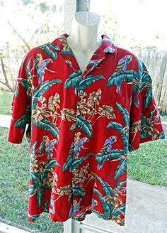 540e5827 Vintage Paradise Found Hawaiian Red Parrot Shirt Mens XXL 2XL Short Sleeve  Aloha #ParadiseFound #