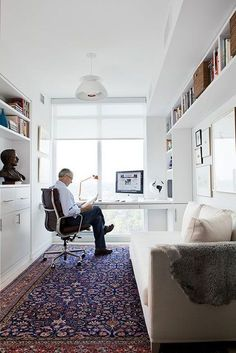 Small home office with built in bookshelves, day bed and gallery wall. Are you looking for unique art photo prints to create your gallery walls? Visit bx3foto.etsy.com and follow us on Instagram @bx3foto