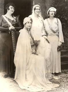 Queen Marie of Romania (second from left) and her daughters, Elisabeth, bride Ilena, and Marie. Princess Victoria, Queen Victoria, Michael I Of Romania, Romanian Royal Family, Great Britain United Kingdom, Cultura General, Central And Eastern Europe, Princess Alexandra, Z Photo