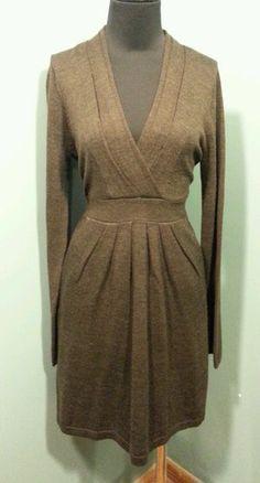 BCBG MAX AZRIA Chocolate Brown Merino Wool Long Sleeve Knit Sweater Dress Size L $27 Free Shipping!