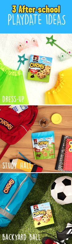 Get ready for after school playdates with the help of Quaker® Chewy®! Prepare the fun by laying out princess costumes for dress up, colorful school supplies for homework in the kitchen, and a small assortment of activities in the backyard. Choose one or do them all! Just don't forget to break out the Quaker® Chewy® Bars or our fun, NEW Quaker® Chewy® Bites.