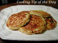 Cooking Tip of the Day: Cottage Cheese Pancakes.. light, easy and delicious..  the family will never realize they're eating cottage cheese!