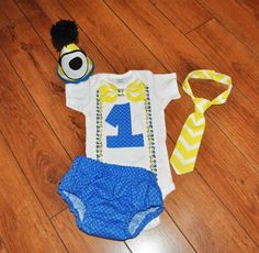 Baby Boy/Toddler Minions Cake smash outfit Boy by RYLOwear on Etsy