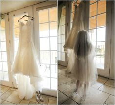 Beaded Wedding Dress and Lace Veil