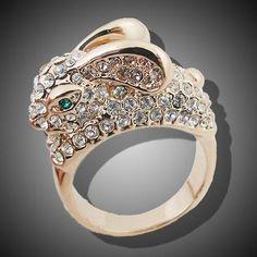 18K Gold GP Rabbit Finger Ring