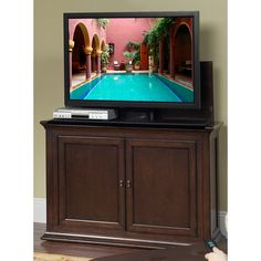 harrison espresso tv lift cabinet by touchstone home products cabinet includes mounts and features a motorized lift for flat screen tvu0027s