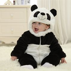 Cute Winter Newborn Romper Panda /Bee Animal Style Costumes For Baby Warm Thick Jumpsuit