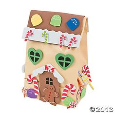 paper bag crafts | Paper Gingerbread House Gift Bag Craft Kit - Oriental Trading