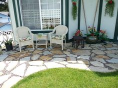 yard design ideas - front patio! i love the idea of a low wall ... - Front Yard Patio Ideas