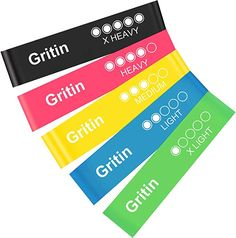 Gritin Resistance Bands [Set of Skin-Friendly Resistance Fitness Exercise Loop Bands with 5 Different Resistance Levels - Free Carrying Case Included - Ideal for Home Gym Yoga Training Gear Pumps Pumps Sports Minerals-Supplements Supplements Proteins Side Lunges, 8 Minute Ab Workout, Butt Workout, Yoga Fitness, Stretch Band, Yoga Pilates, Resistance Bands, Shopping