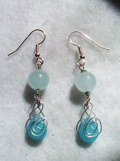 Aquamarine Mermaid Tears Earrings by regiooaksartist on Etsy, $15.00...pinning for my friend