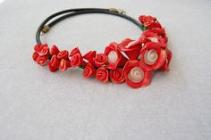 Check out this item in my Etsy shop https://www.etsy.com/uk/listing/492357799/leather-necklace-flower-necklace-red