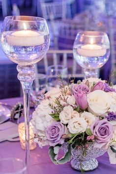 Lavender and Silver Wedding Centerpiece // romantic, low and lush, candles, floating candles Purple Wedding Jewelry, Purple And Silver Wedding, Purple Wedding Flowers, Wedding Table Flowers, Table Wedding, Pond Wedding, Silver Spring, Wedding Table Decorations, Decoration Table