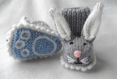 Boppity Bunny Rabbit Booties with Embroidered Soles
