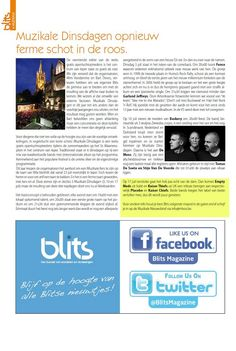 Here we are! On BlitsMagazine, they're talking about us and MUZIKALE DINSDAGEN 2012! Free festival in Ieper :D
